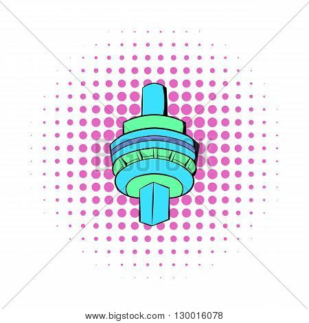 The CN Tower in Toronto icon in comics style on a white background