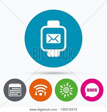 Wifi, Sms and calendar icons. Smart watch sign icon. Wrist digital watch. Mail message chat symbol. Go to web globe.