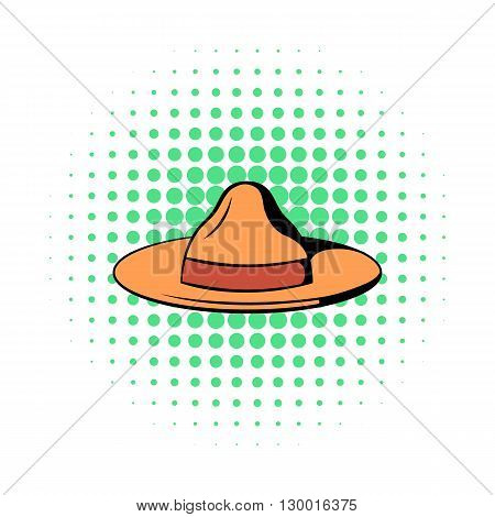 Hat icon in comics style on a white background