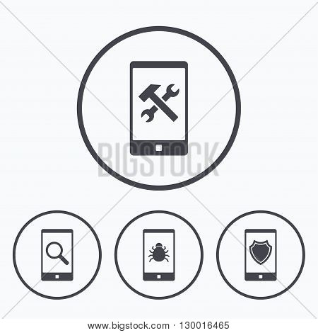 Smartphone icons. Shield protection, repair, software bug signs. Search in phone. Hammer with wrench service symbol. Icons in circles.
