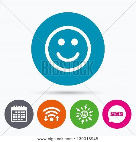 Wifi, Sms and calendar icons. Smile icon. Happy face chat symbol. Go to web globe.