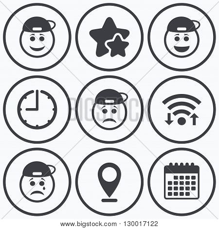 Clock, wifi and stars icons. Rapper smile face icons. Happy, sad, cry signs. Happy smiley chat symbol. Sadness depression and crying signs. Calendar symbol.