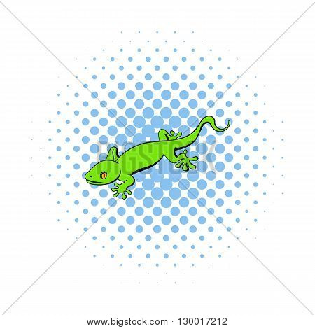 Green gecko lizard icon in comics style on a white background