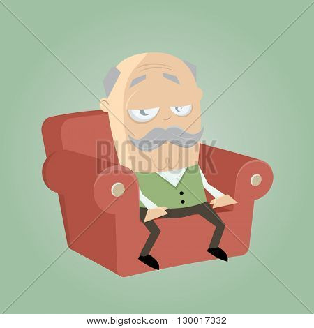 bored senior sitting in his armchair