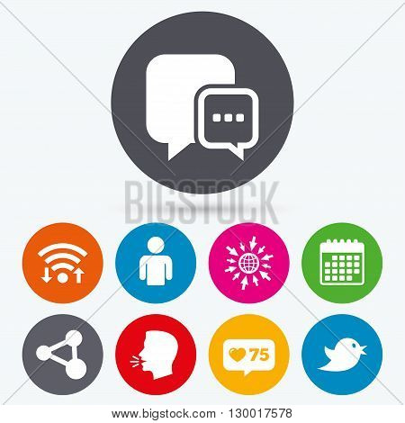 Wifi, like counter and calendar icons. Social media icons. Chat speech bubble and Share link symbols. Bird sign. Human person profile. Human talk, go to web.