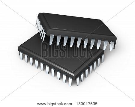 Microchips. 3D Render.
