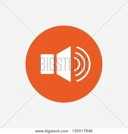 Speaker volume sign icon. Sound symbol. Orange circle button with icon. Vector