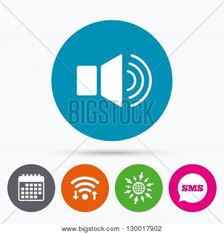 Wifi, Sms and calendar icons. Speaker volume sign icon. Sound symbol. Go to web globe.