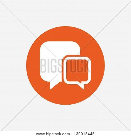 Chat sign icon. Speech bubbles symbol. Communication chat bubbles. Orange circle button with icon. Vector