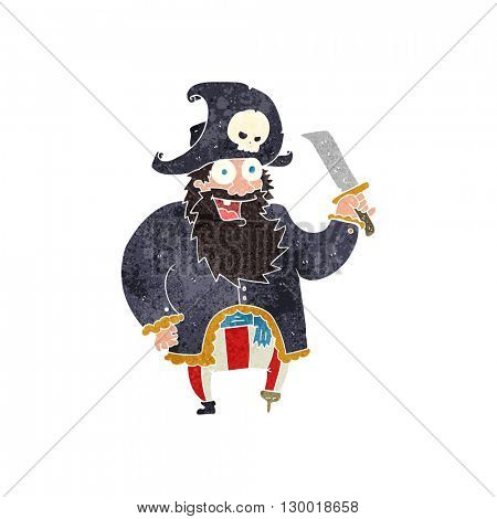 freehand retro cartoon pirate captain
