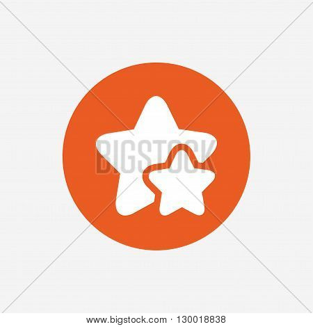 Star icon. Favorite sign. Best rated symbol. Orange circle button with icon. Vector
