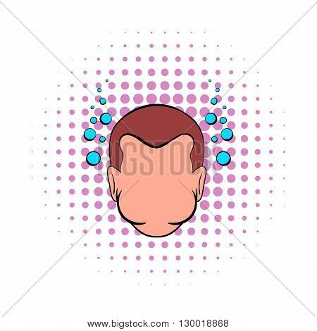 Drowning man icon in comics style isolated on white background