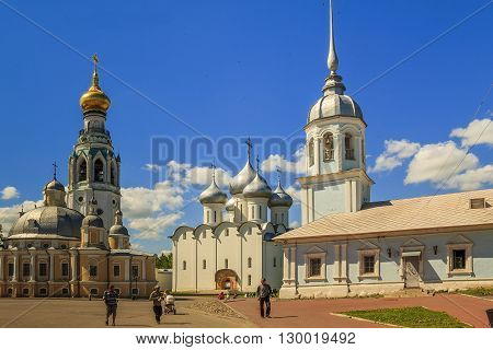 Vologda, Russia - May 27: This is a historic city center with the city's main cathedrals and churches: St. Sophia Resurrection Alexander Nevsky and the bell tower of the Kremlin May 27, 2013 in Vologda, Russia.