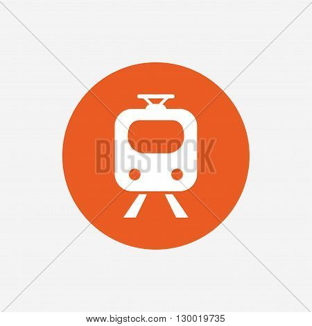 Subway sign icon. Train, underground symbol. Orange circle button with icon. Vector