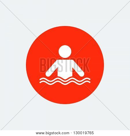 Swimming sign icon. Pool swim symbol. Sea wave. Orange circle button with icon. Vector
