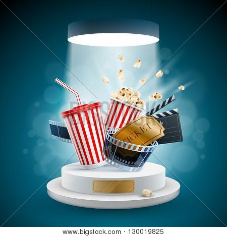 Popcorn box; disposable cup for beverages with straw, film strip, clapper board and ticket on the podium. Cinema Concept Design. Detailed vector illustration.