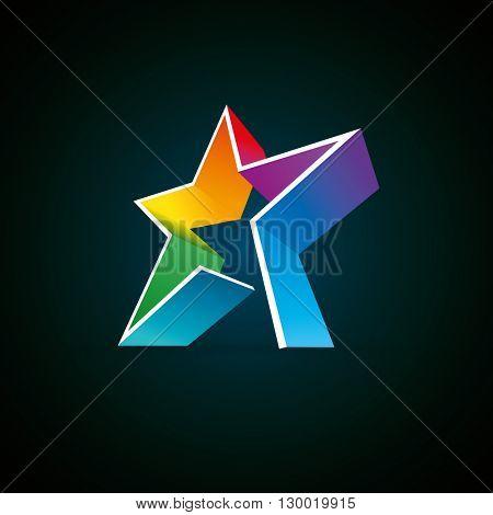 Vector 3d colorful star design element. Easy editable.