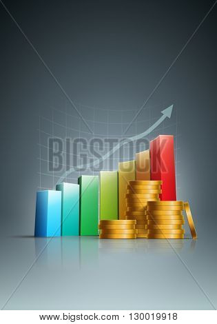 Vector stacked golden coins and colorful bar graph. Vector illustration.