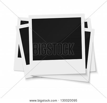 Stack of blank vintage paper photo frames from instant camera with shadow isolated on white for images. realistic vector illustration of photoframe with space for images and photos. Photo frame vector