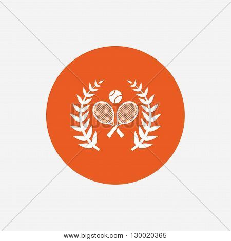Tennis rackets with ball sign icon. Sport laurel wreath symbol. Winner award. Orange circle button with icon. Vector