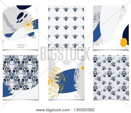 Vector card collection with abstract design and lemurs. Blue and gray pattern for posters greeting cards flyers web designs. Anniversary holiday wedding business birthday party invitations.