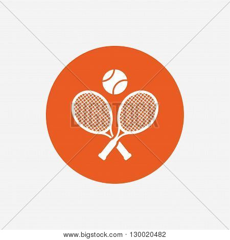 Tennis rackets with ball sign icon. Sport symbol. Orange circle button with icon. Vector