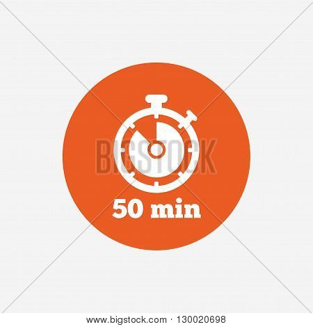 Timer sign icon. 50 minutes stopwatch symbol. Orange circle button with icon. Vector