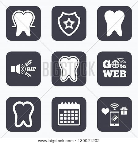 Mobile payments, wifi and calendar icons. Tooth enamel protection icons. Dental toothpaste care signs. Healthy teeth sign. Go to web symbol.