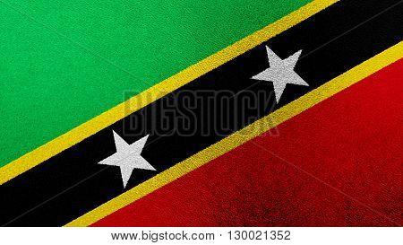 Flag of Saint Kitts and Nevis painted on glass