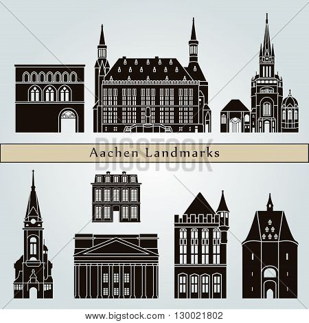 Aachen landmarks and monuments isolated on blue background in editable vector file