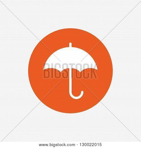 Umbrella sign icon. Rain protection symbol. Orange circle button with icon. Vector