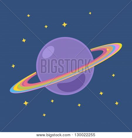 Saturn, Planet with Stars in Outer Space, Design Element, Cosmic Background,  Vector Illustration