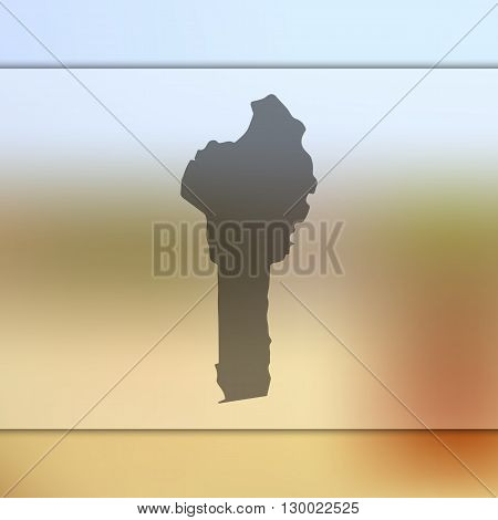Blurred background with silhouette of Benin.