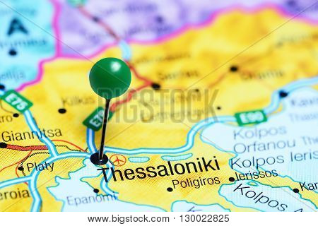 Thessaloniki pinned on a map of Greece