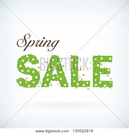 Seasonal spring sale business advertisement text with leafs. editable spring sale vector background. Detailed spring sale text.