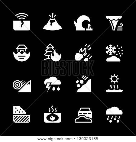 Set icons of natural disaster isolated on black. Vector illustration