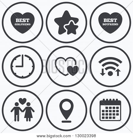 Clock, wifi and stars icons. Valentine day love icons. Best girlfriend and boyfriend symbol. Couple lovers sign. Calendar symbol.
