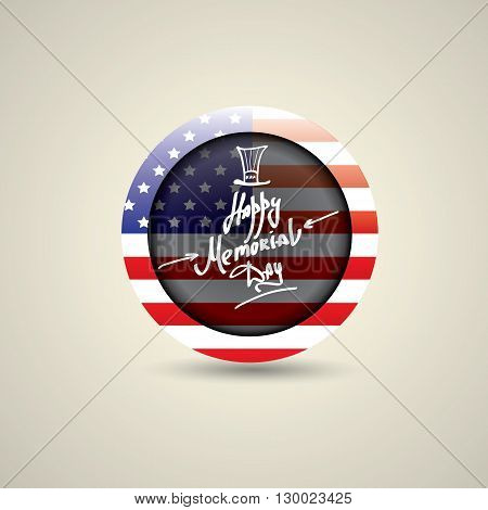 Happy Memorial Day vector round badge or sticker . Memorial day greeting card background. USA memorial day round label.