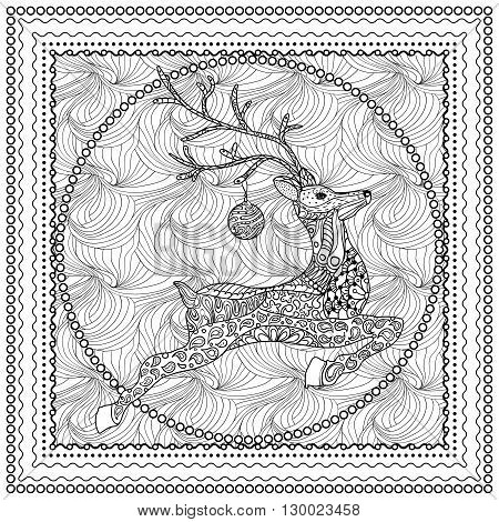 Hand Drawn Vector Illustration of Jumping Deer silhouette with decorative ornament, Merry Christmas Card.Vector illustration for coloring book page design. Ornamental border and frame
