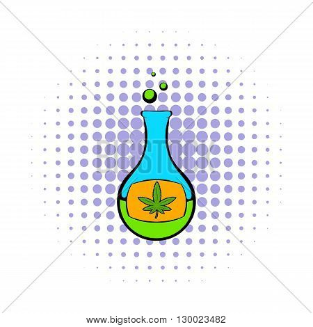 Chemical test tube with marijuana leaf icon in comics style on a white background