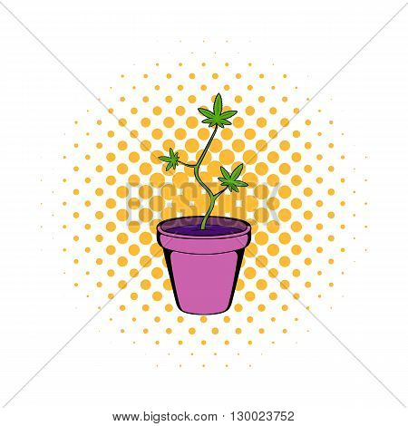 Cannabis plant in a pot icon in comics style on a white background