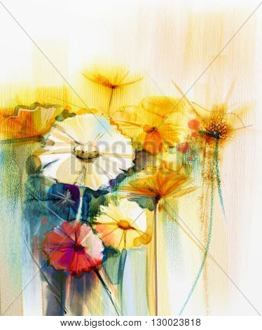 Abstract watercolor painting of spring flower. Still life of yellow pink and red gerbera daisy. Colorful bouquet flowers with light yellow green blue background. Hand Painted floral Impressionist