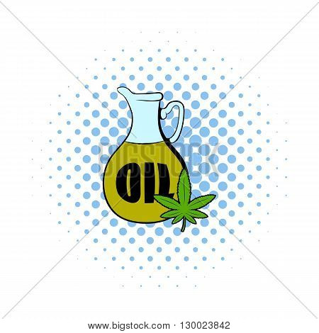 Hemp oil and cannabis leaf icon in comics style on a white background