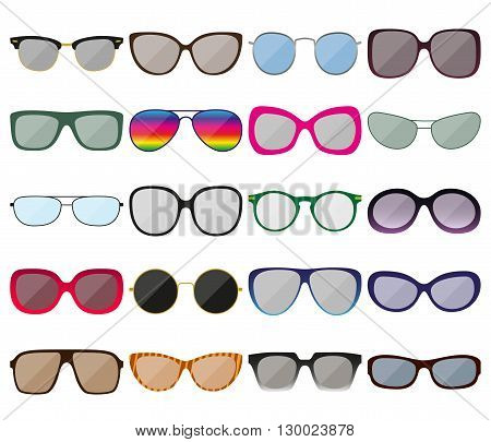 Sunglasses icon set. Colored spectacle frames. Different shapes. Vector illustration