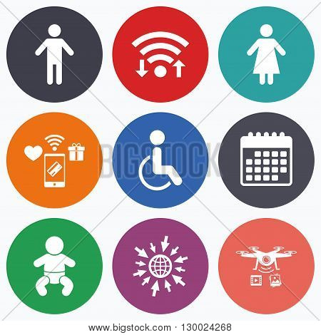 Wifi, mobile payments and drones icons. WC toilet icons. Human male or female signs. Baby infant or toddler. Disabled handicapped invalid symbol. Calendar symbol.