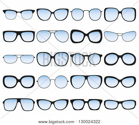 Sunglasses icon set. Different spectacle frames and shapes. Vector illustration