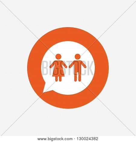 Toilet sign icon. Restroom or lavatory speech bubble symbol. Orange circle button with icon. Vector