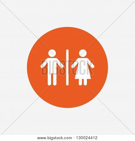 WC sign icon. Toilet symbol. Male and Female toilet. Orange circle button with icon. Vector