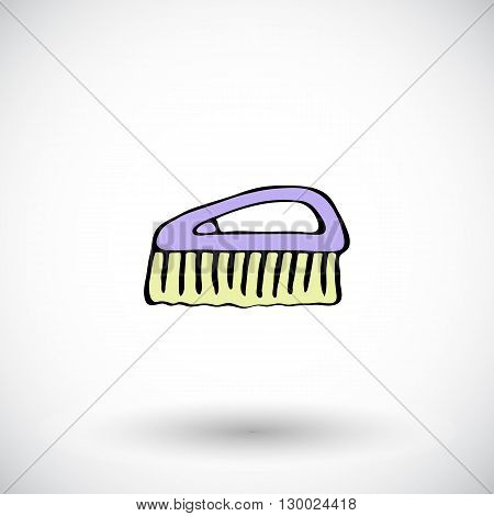 Floor brush sketch. Hand-drawn cartoon cleaning tool icon. Doodle drawing. Vector illustration.