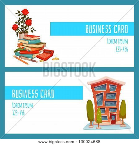 Business card concept with office building and accountant things. Vector illustration.